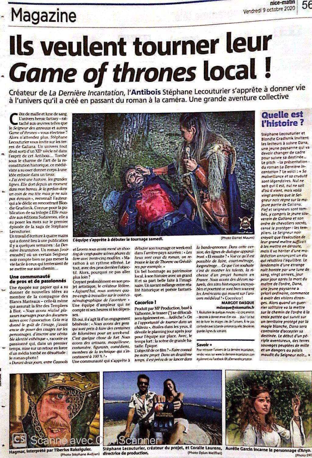Article sur nice matin tournage the last incantation la derniere incantation stephane lecoutuier laurens coralie